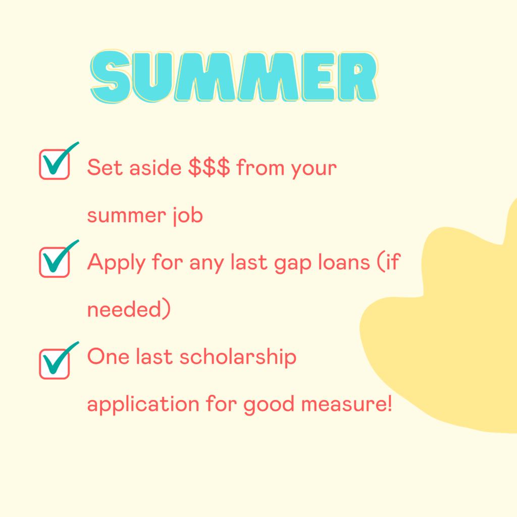 Summer financial aid deadlines